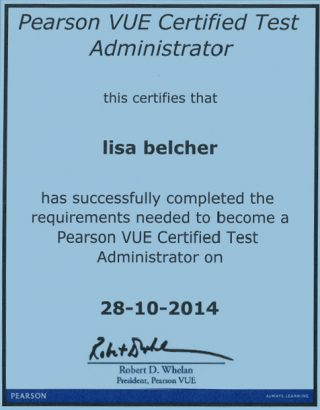 A copy of Lisa Belcher's Pearson VUE Certified Test Administrator certificate.