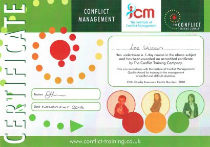 A Conflict Training Certificate awarded to one of our employees.