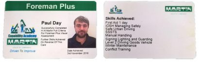An example of our Foreman Plus Card.